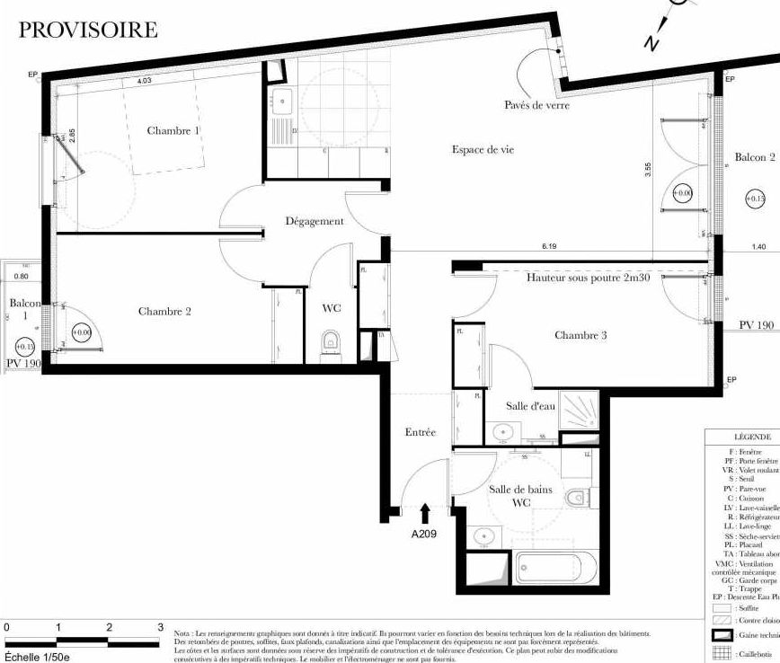 Plan A209, appartement neuf type T4 au 2ème étage, orienté Sud faisant 87m² du programme neuf Symbiose à Bezons.