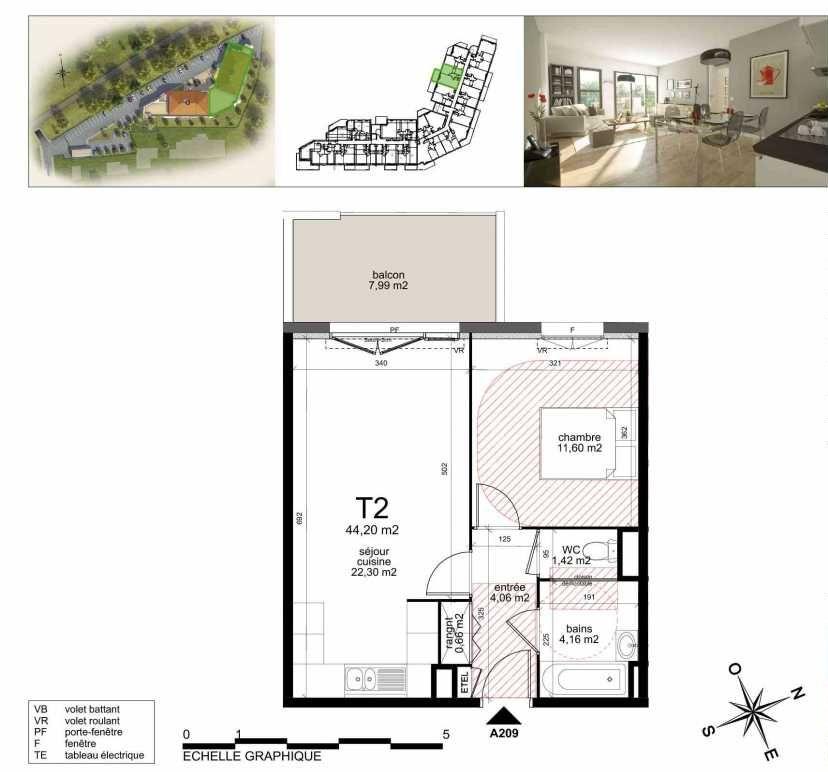 Plan A209, appartement neuf type T2 au 2ème étage, orienté Nord faisant 43m² du programme neuf TOULON ESTEREL à Toulon.