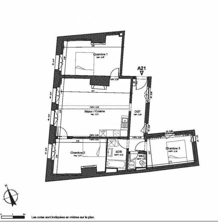 Plan A21, appartement neuf type T4 au 2ème étage, faisant 88m² du programme neuf HOTEL DU LION D'OR à Beauvais.