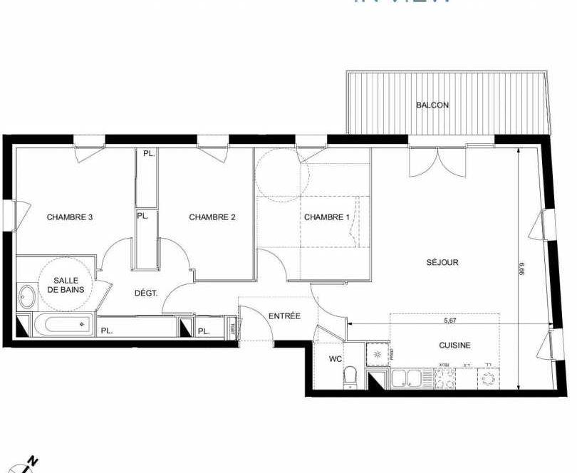 Plan A21, appartement neuf type T4 au 4ème étage, faisant 89m² du programme neuf IN'VIEW à Ramonville-Saint-Agne.