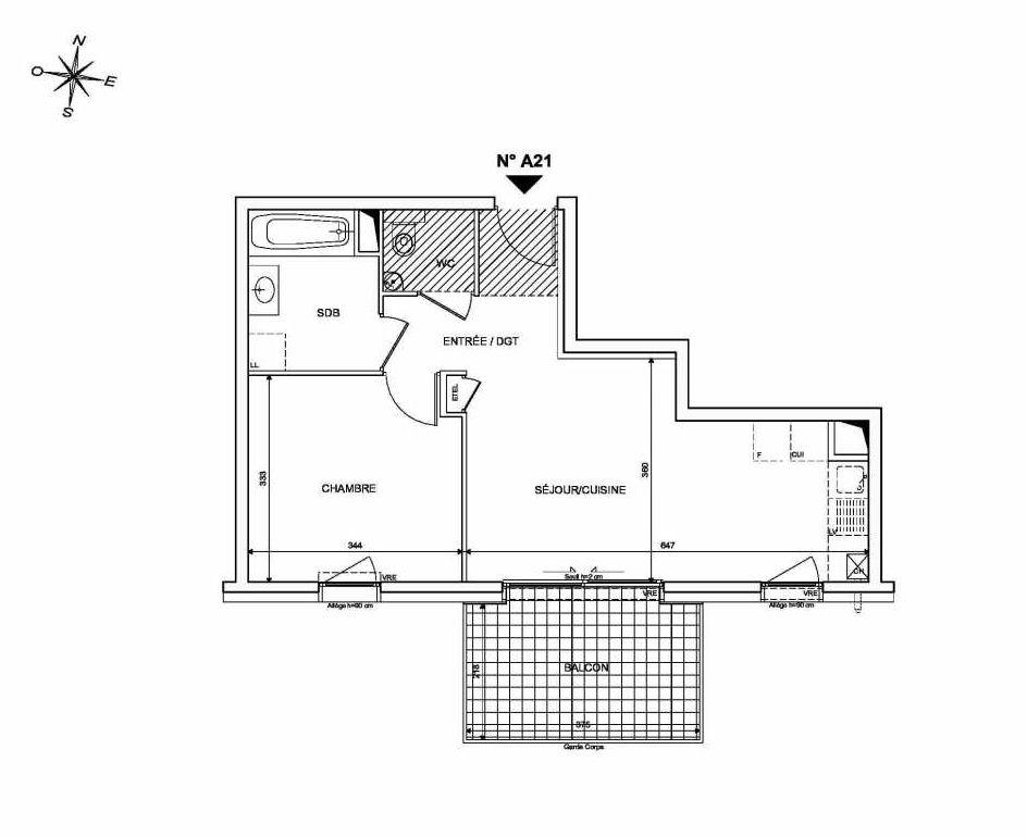 Plan A21, appartement neuf type T2 au 2ème étage, orienté Sud faisant 43m² du programme neuf INFINITY à Publier.