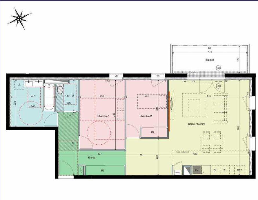 Plan A21, appartement neuf type T3 au 2ème étage, orienté Ouest faisant 80m² du programme neuf Les Hauts de Brimberne à Sautron.