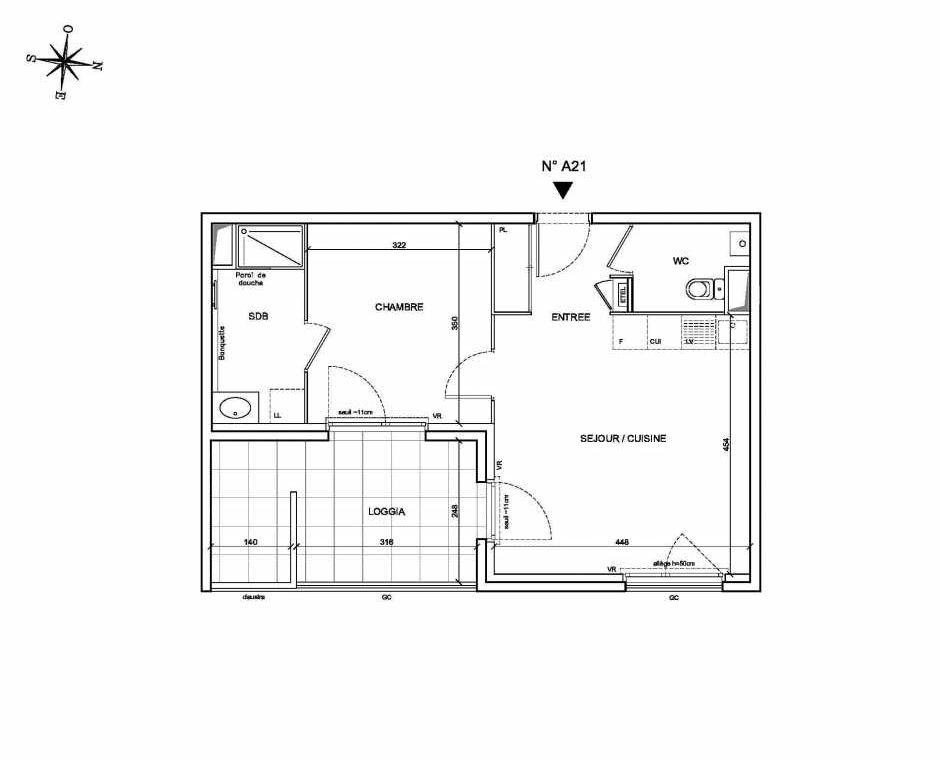 Plan A21, appartement neuf type T2 au 2ème étage, faisant 43m² du programme neuf Les Levants à Brignais.