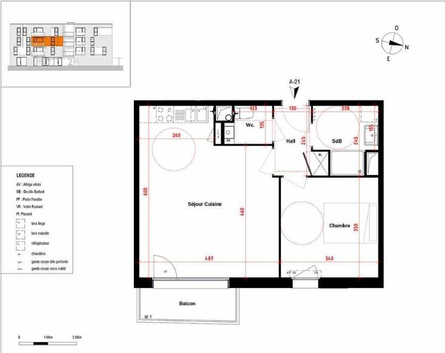 Plan A21, appartement neuf type T2 au 2ème étage, orienté Est faisant 48m² du programme neuf Symbioz à Haubourdin.