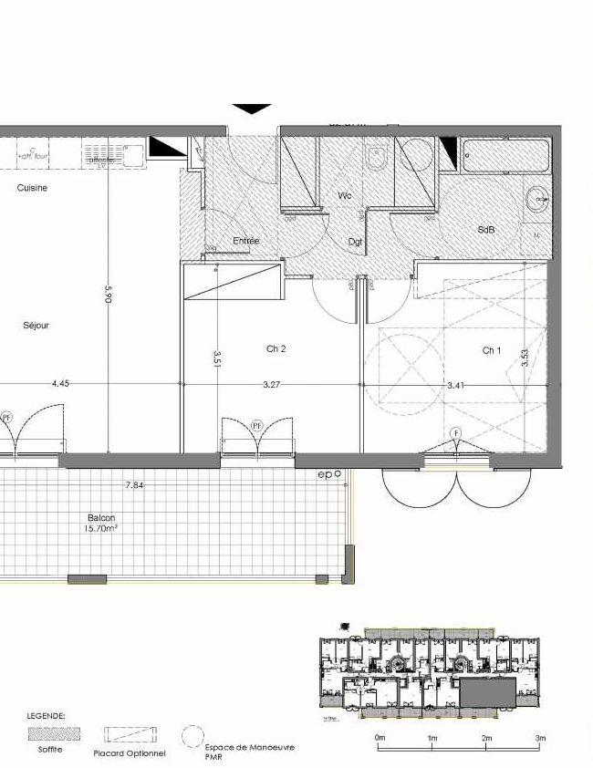 Plan A210, appartement neuf type T3 au 2ème étage, orienté Sud faisant 63m² du programme neuf Loderi à Bormes-les-Mimosas.