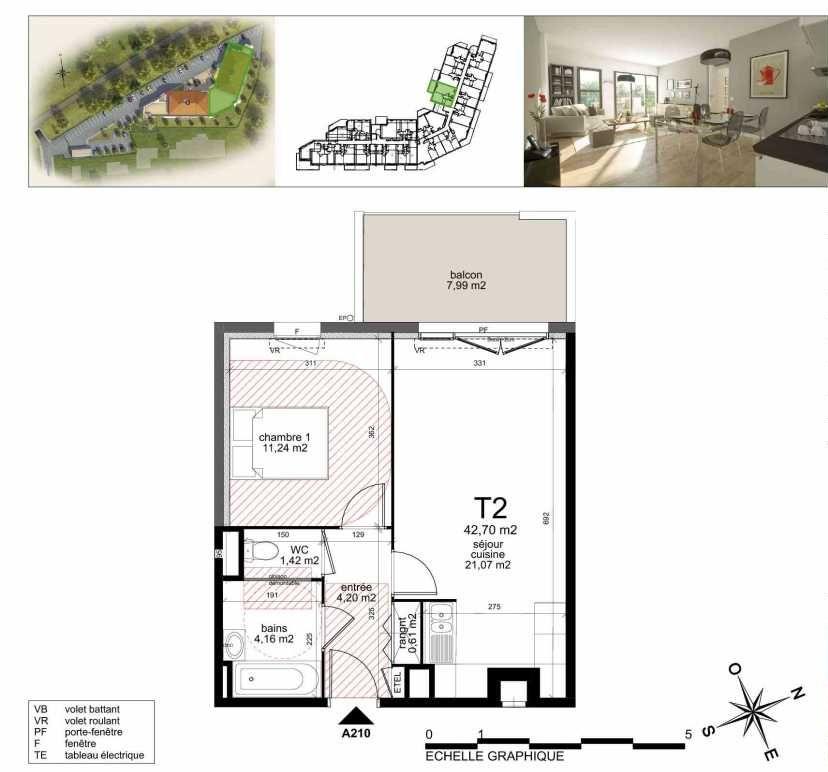 Plan A210, appartement neuf type T2 au 2ème étage, orienté Nord faisant 43m² du programme neuf TOULON ESTEREL à Toulon.
