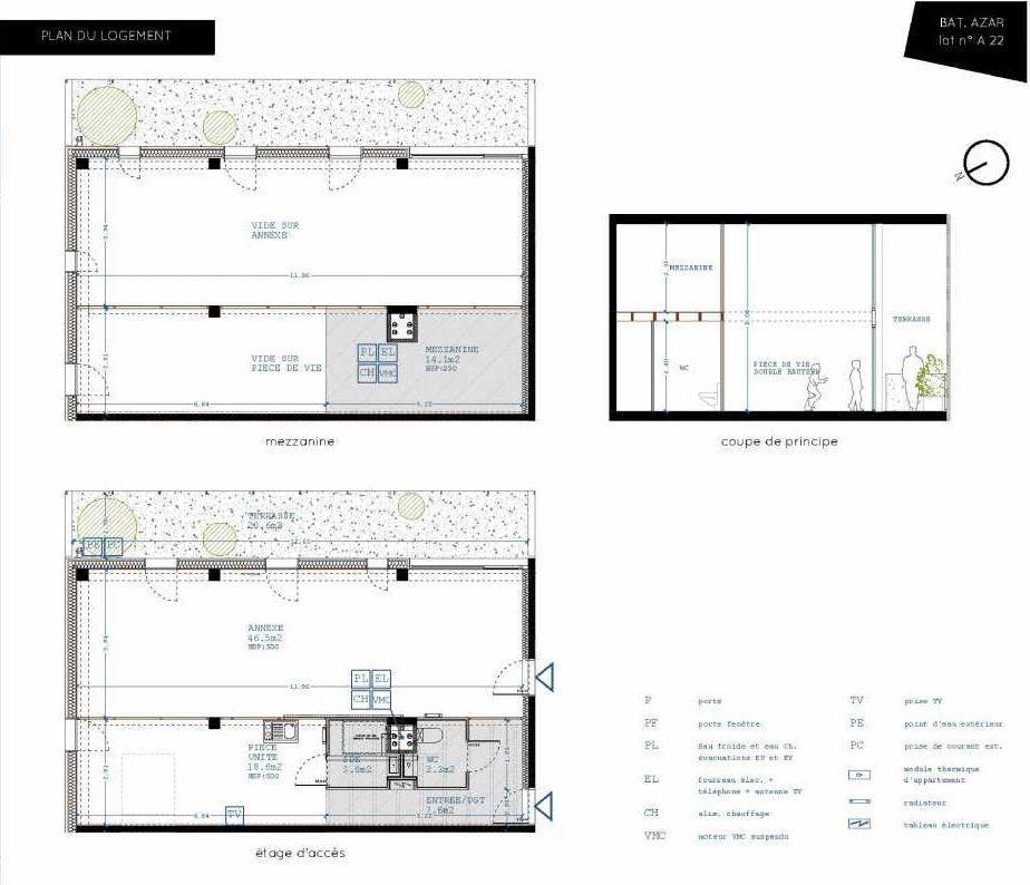 Plan A22, appartement neuf type T5 au 2ème étage, orienté Sud faisant 32m² du programme neuf Brazza à Bordeaux.