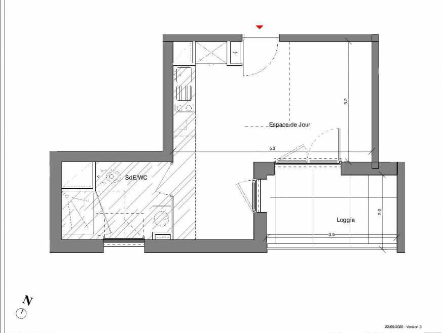 Plan A22, appartement neuf type T1 au 3ème étage, faisant 27m² du programme neuf Kubik Garden à Vénissieux.