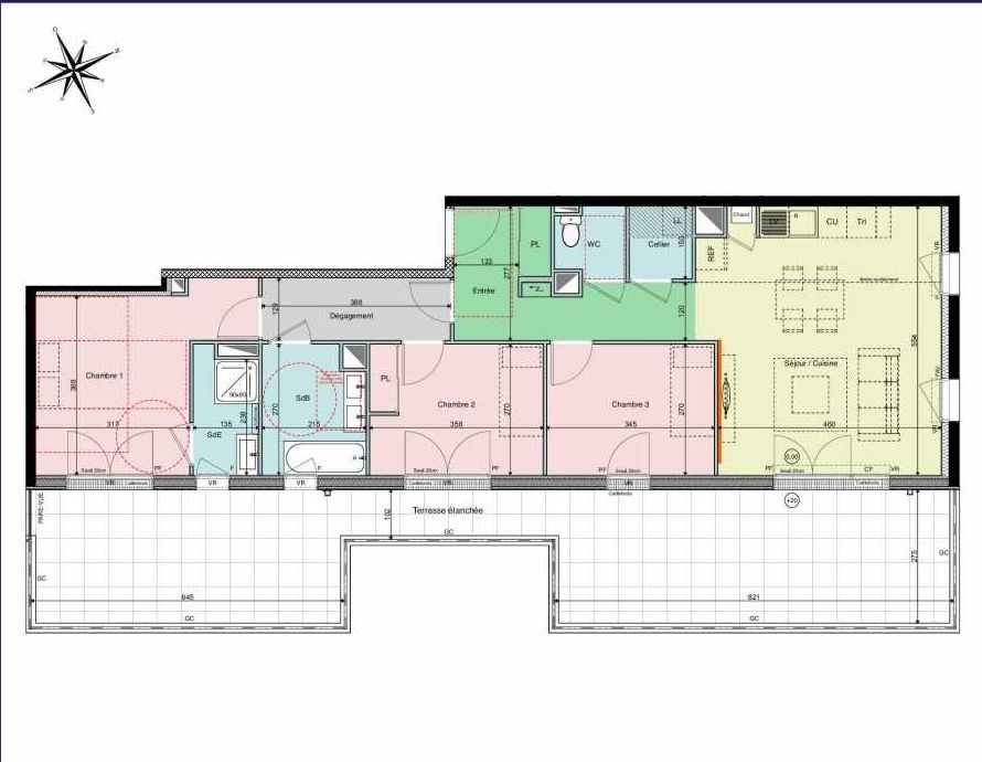 Plan A22, appartement neuf type T4 au 2ème étage, orienté Sud faisant 85m² du programme neuf Les Hauts de Brimberne à Sautron.