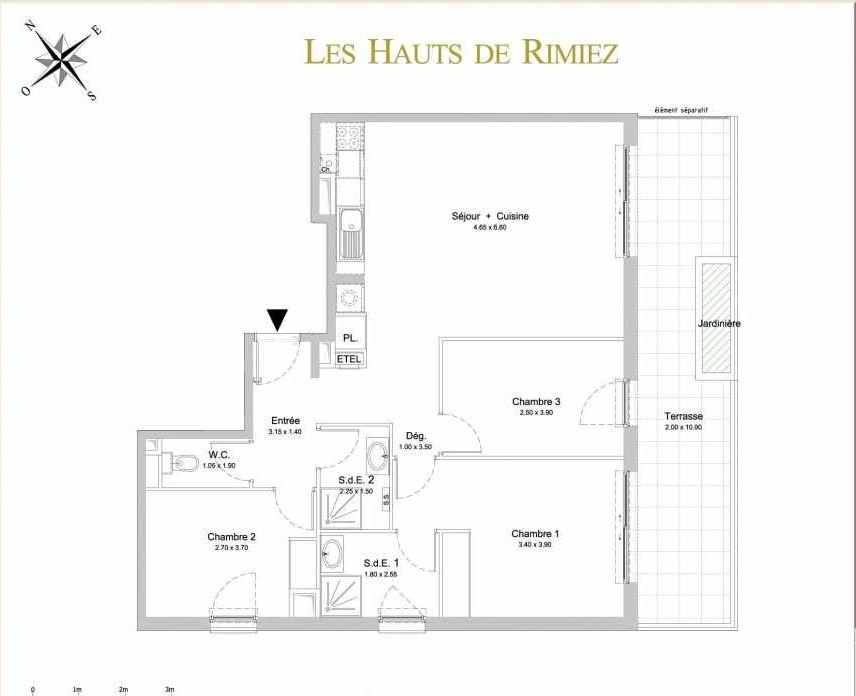 Plan A22, appartement neuf type T4 au 2ème étage, orienté Sud faisant 83m² du programme neuf Les Hauts de Rimiez à Nice.