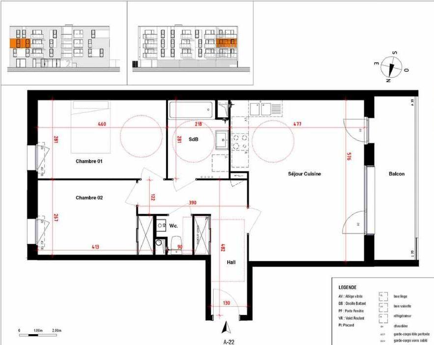Plan A22, appartement neuf type T3 au 2ème étage, orienté Ouest faisant 66m² du programme neuf Symbioz à Haubourdin.