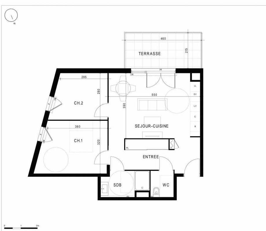 Plan A23, appartement neuf type T3 au 2ème étage, orienté Sud faisant 60m² du programme neuf 10ème Sud à Marseille.