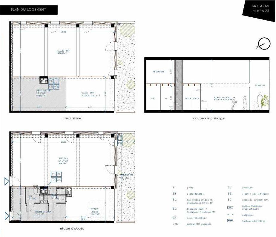 Plan A23, appartement neuf type T5 au 2ème étage, orienté Sud faisant 32m² du programme neuf Brazza à Bordeaux.