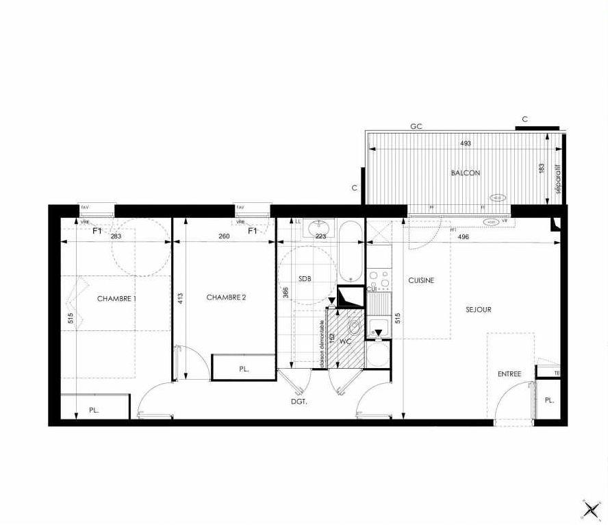 Plan A23, appartement neuf type T3 au 2ème étage, orienté Ouest faisant 64m² du programme neuf Cosy à Toulouse.