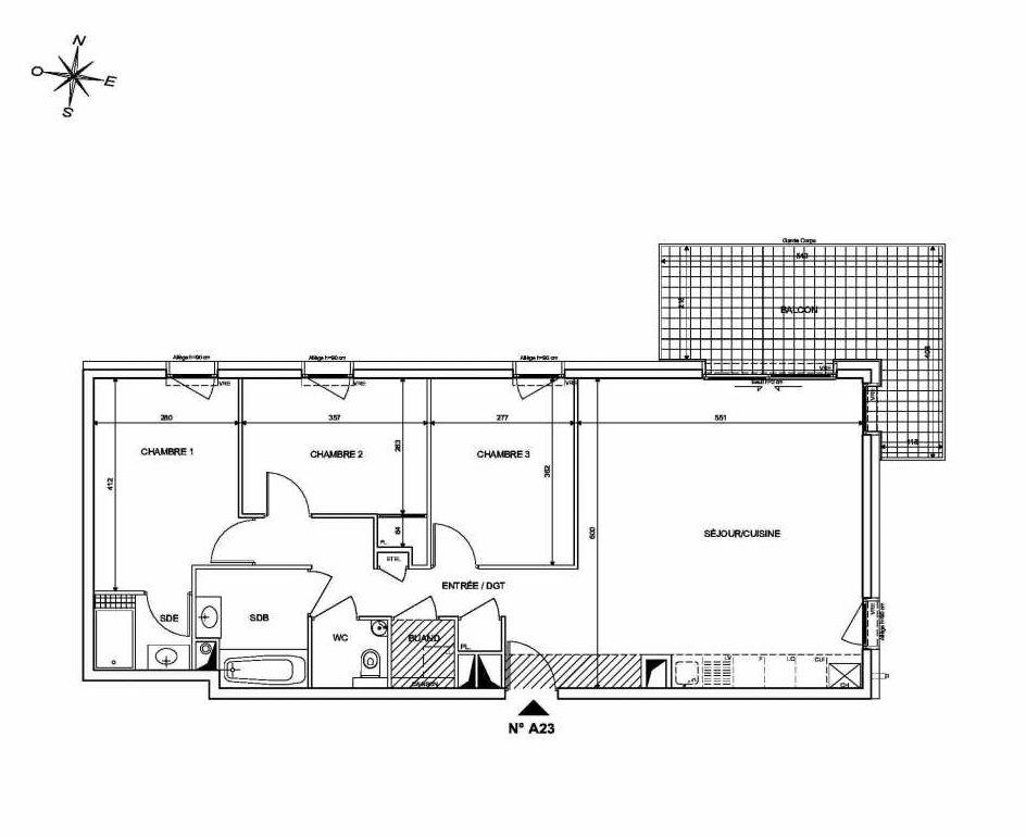 Plan A23, appartement neuf type T4 au 2ème étage, orienté Nord faisant 84m² du programme neuf INFINITY à Publier.