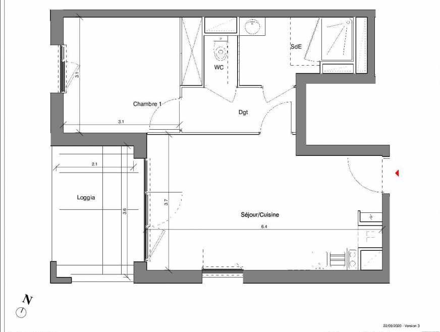 Plan A23, appartement neuf type T2 au 4ème étage, faisant 42m² du programme neuf Kubik Garden à Vénissieux.