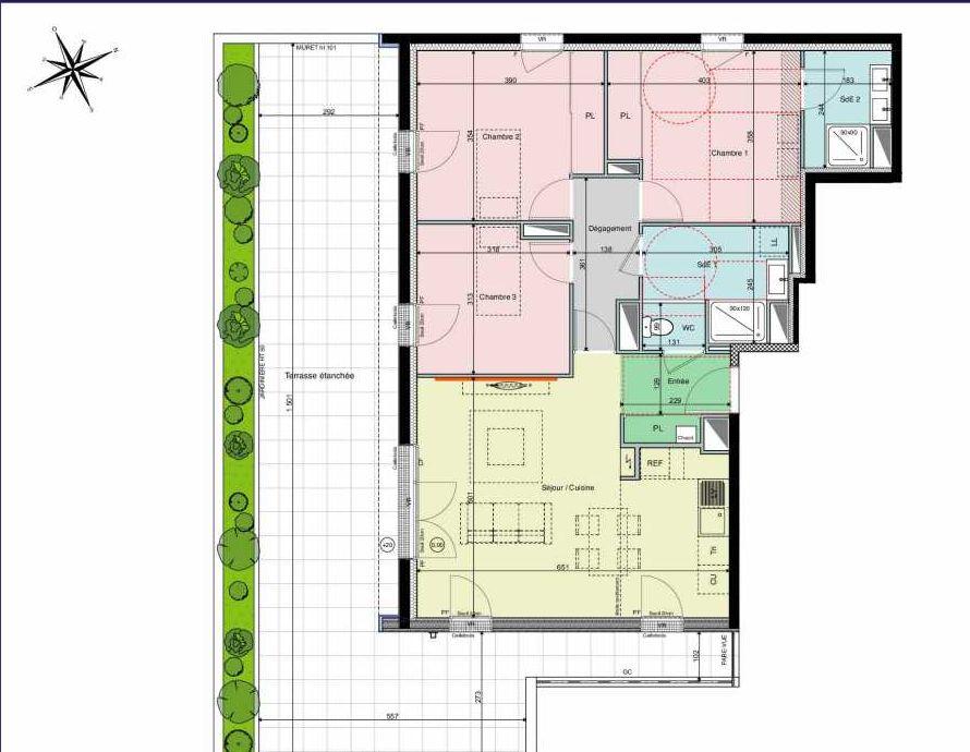 Plan A23, appartement neuf type T4 au 2ème étage, orienté Sud faisant 85m² du programme neuf Les Hauts de Brimberne à Sautron.