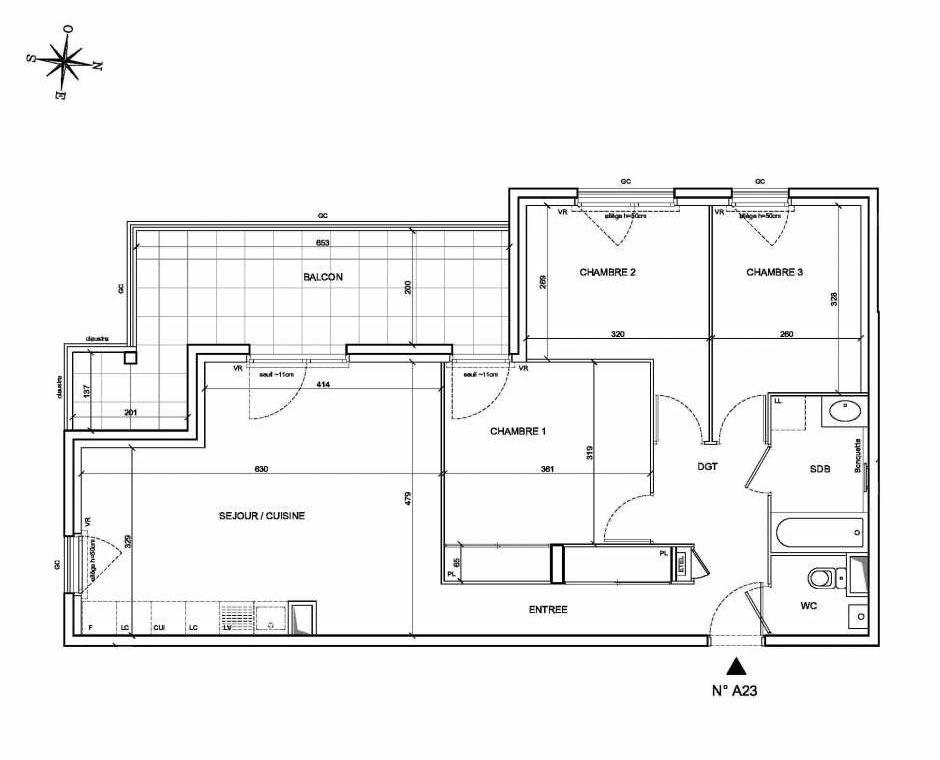 Plan A23, appartement neuf type T4 au 2ème étage, faisant 76m² du programme neuf Les Levants à Brignais.