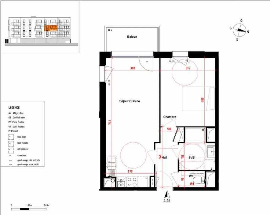 Plan A23, appartement neuf type T2 au 2ème étage, orienté Sud faisant 44m² du programme neuf Symbioz à Haubourdin.