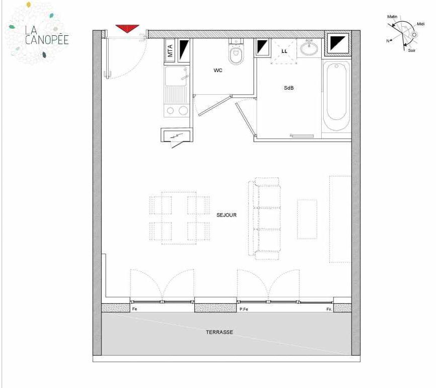 Plan A24, appartement neuf type T1 au 2ème étage, orienté Ouest faisant 33m² du programme neuf LA CANOPÉE à Amiens.
