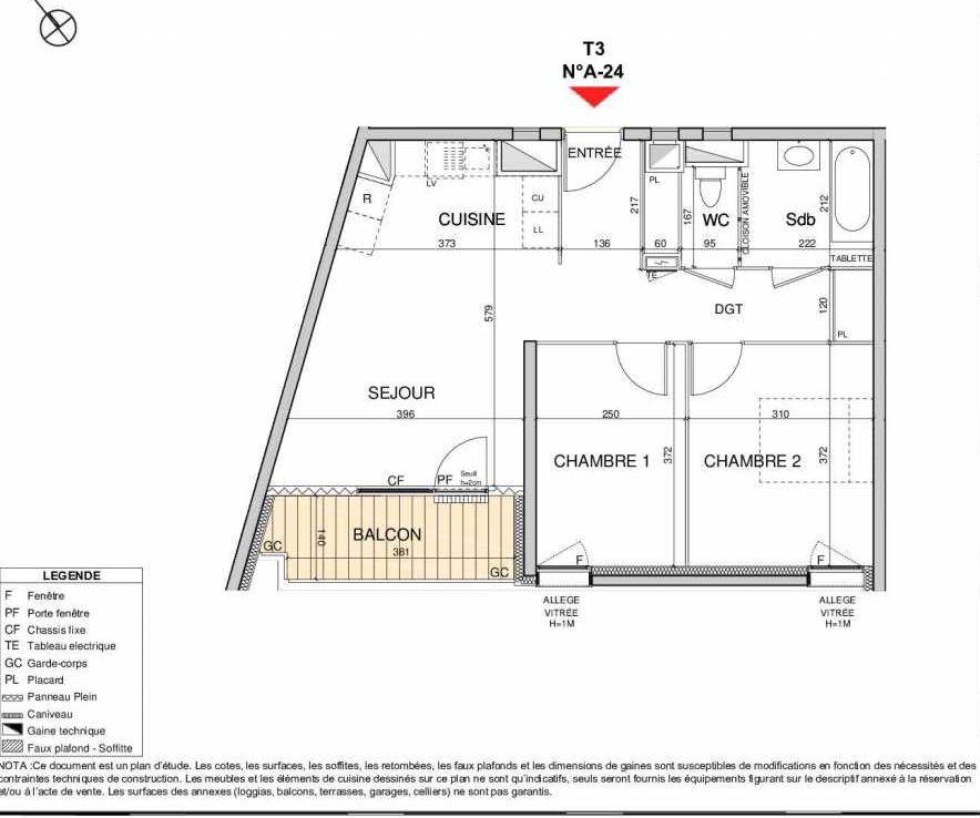 Plan A24, appartement neuf type T3 au 2ème étage, orienté Sud faisant 59m² du programme neuf Open Sky à Grenoble.