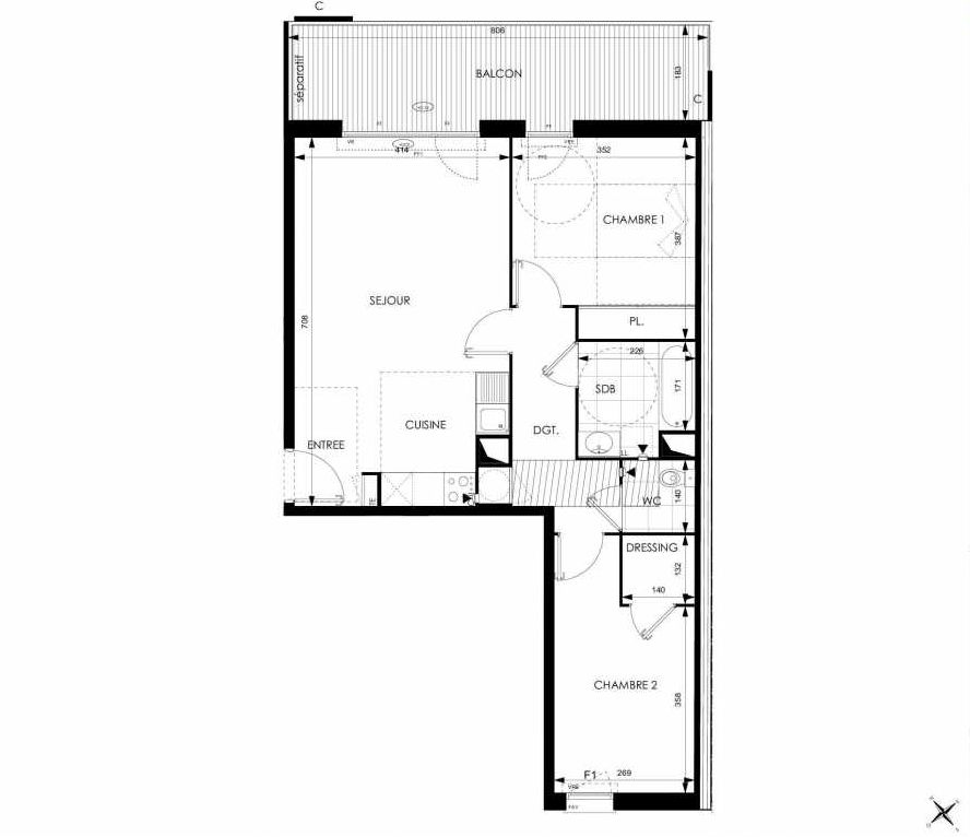 Plan A25, appartement neuf type T3 au 2ème étage, orienté Sud faisant 67m² du programme neuf Cosy à Toulouse.