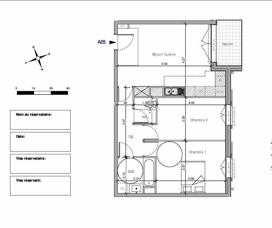 Plan A25, appartement neuf type T3 au 2ème étage, orienté Nord faisant 59m² du programme neuf Domaine de la Roseraie à Chambourcy.