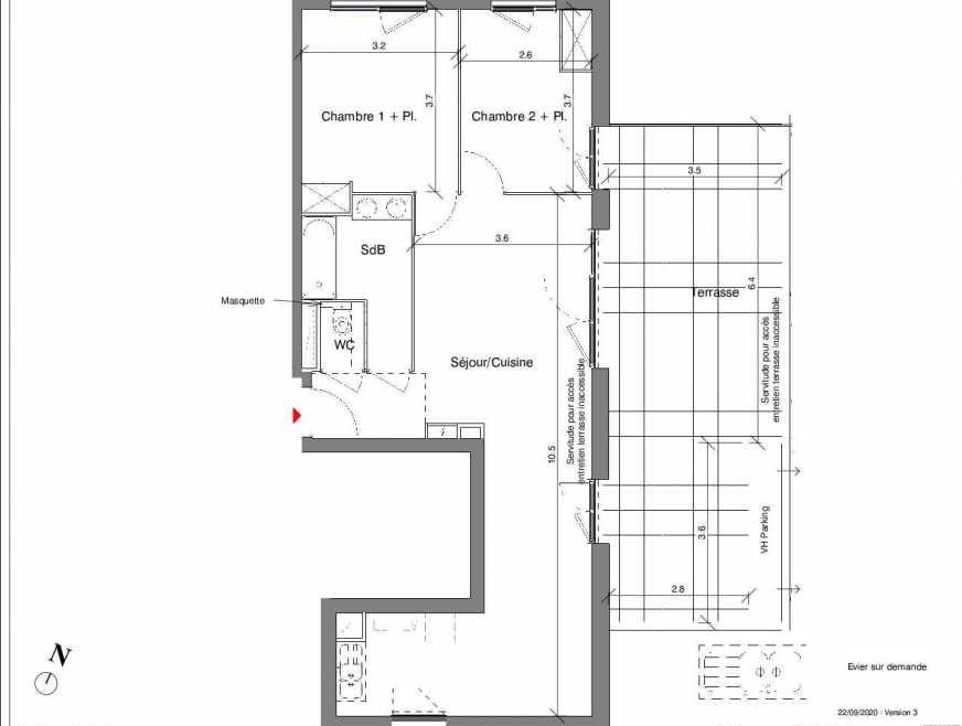 Plan A25, appartement neuf type T3 au 4ème étage, faisant 67m² du programme neuf Kubik Garden à Vénissieux.