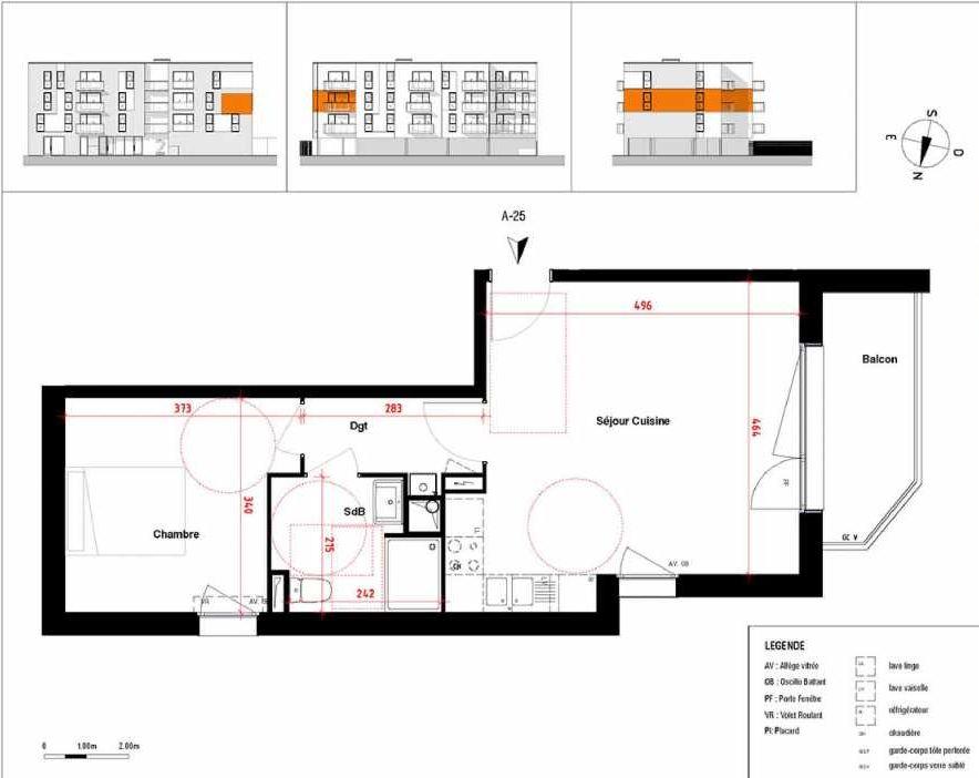 Plan A25, appartement neuf type T2 au 2ème étage, orienté Ouest faisant 45m² du programme neuf Symbioz à Haubourdin.