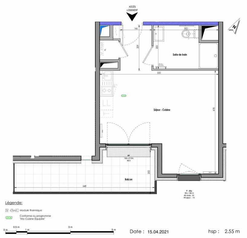 Plan A257, appartement neuf type T1 au 5ème étage, orienté Sud faisant 32m² du programme neuf LES FABRIKS DE MAI à Clermont-Ferrand.