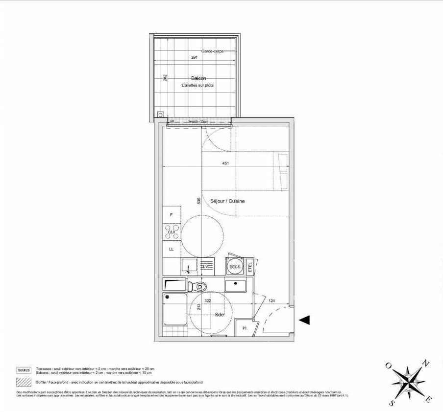 Plan A26, appartement neuf type T1 au 2ème étage, orienté Ouest faisant 33m² du programme neuf L'INATTENDU à Morangis.