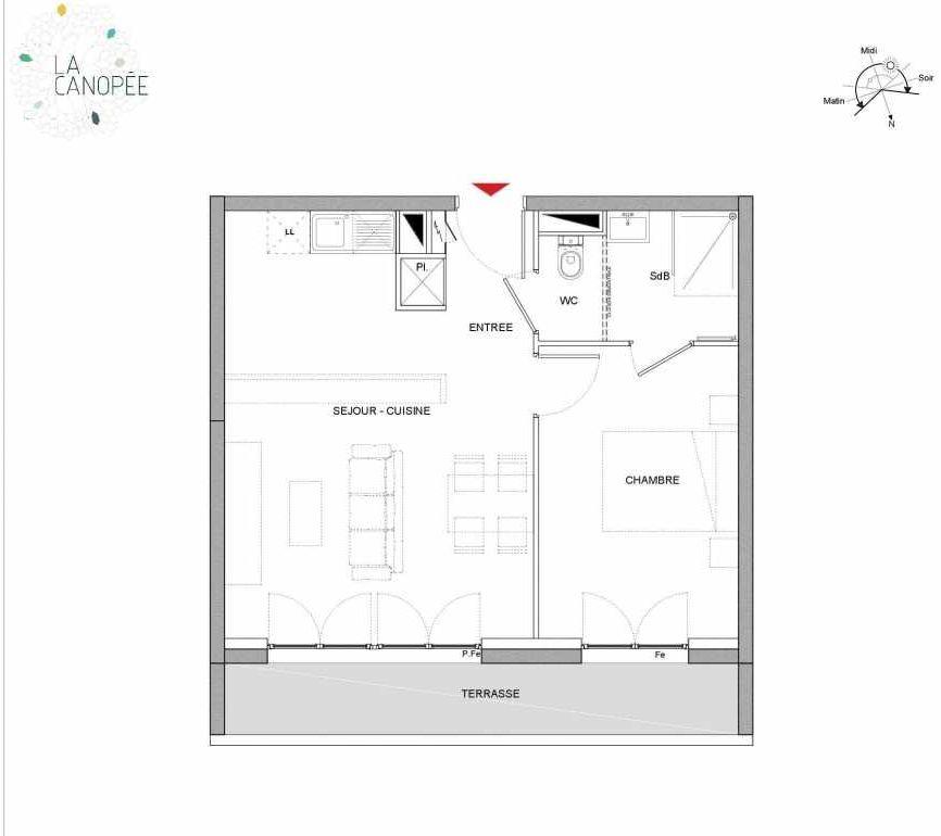 Plan A26, appartement neuf type T2 au 2ème étage, orienté Nord faisant 41m² du programme neuf LA CANOPÉE à Amiens.