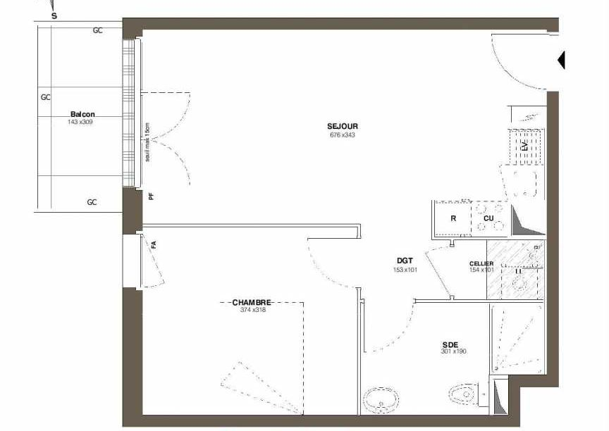 Plan A26, appartement neuf type T2 au 2ème étage, faisant 42m² du programme neuf Les Hauts Romanet à Saint-Herblain.