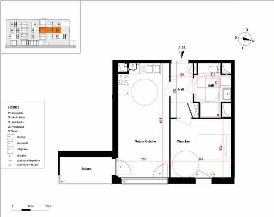 Plan A26, appartement neuf type T2 au 2ème étage, orienté Est faisant 39m² du programme neuf Symbioz à Haubourdin.