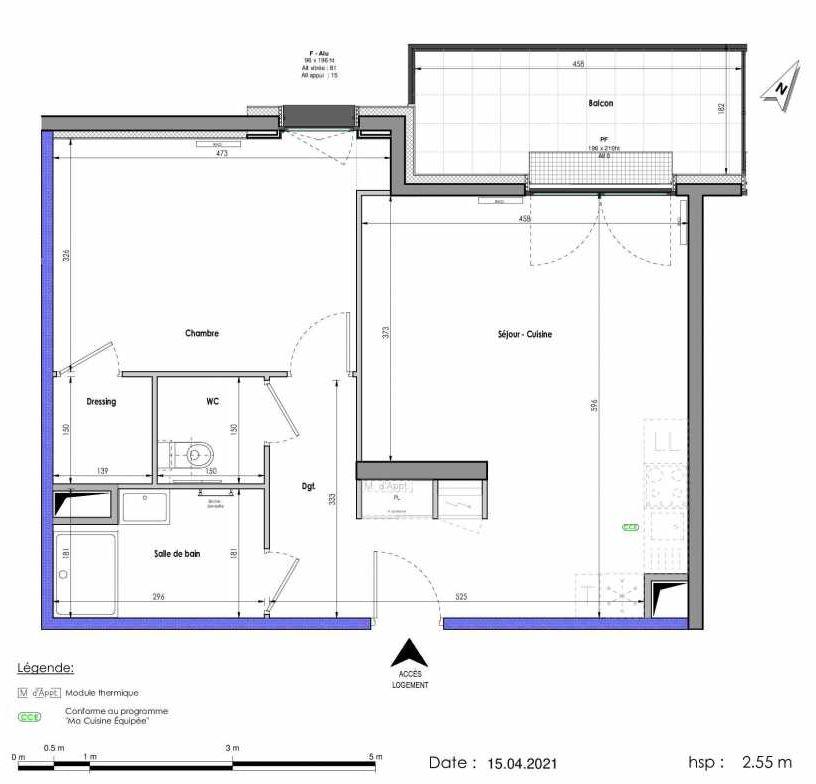 Plan A264, appartement neuf type T2 au 6ème étage, orienté Nord faisant 54m² du programme neuf LES FABRIKS DE MAI à Clermont-Ferrand.