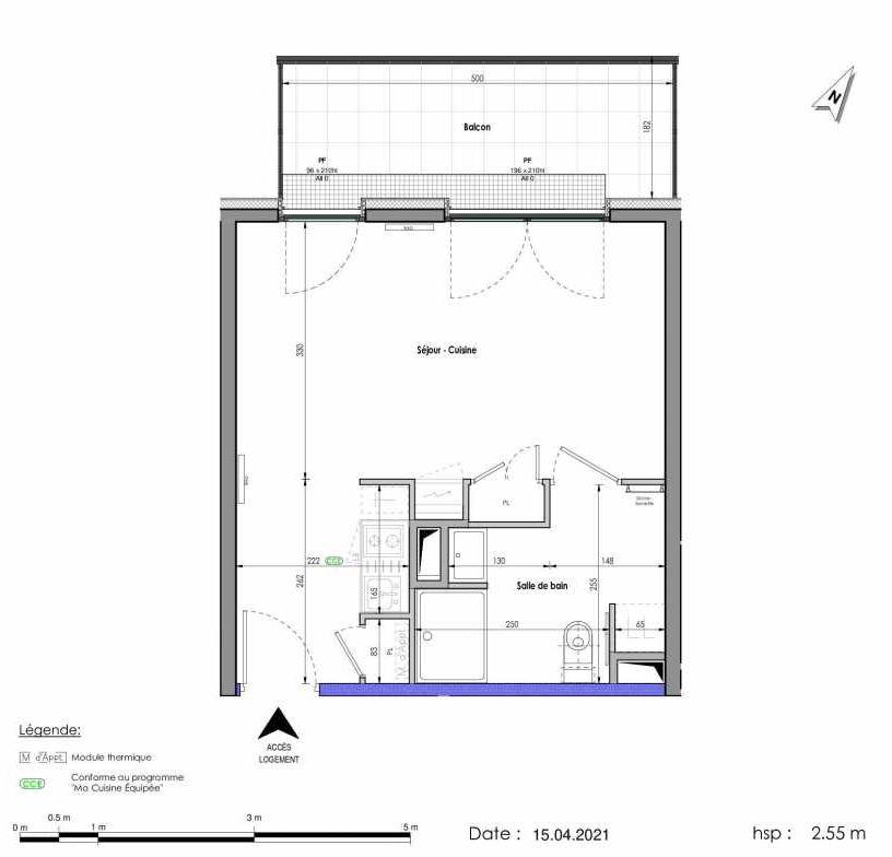 Plan A265, appartement neuf type T1 au 6ème étage, orienté Nord faisant 31m² du programme neuf LES FABRIKS DE MAI à Clermont-Ferrand.