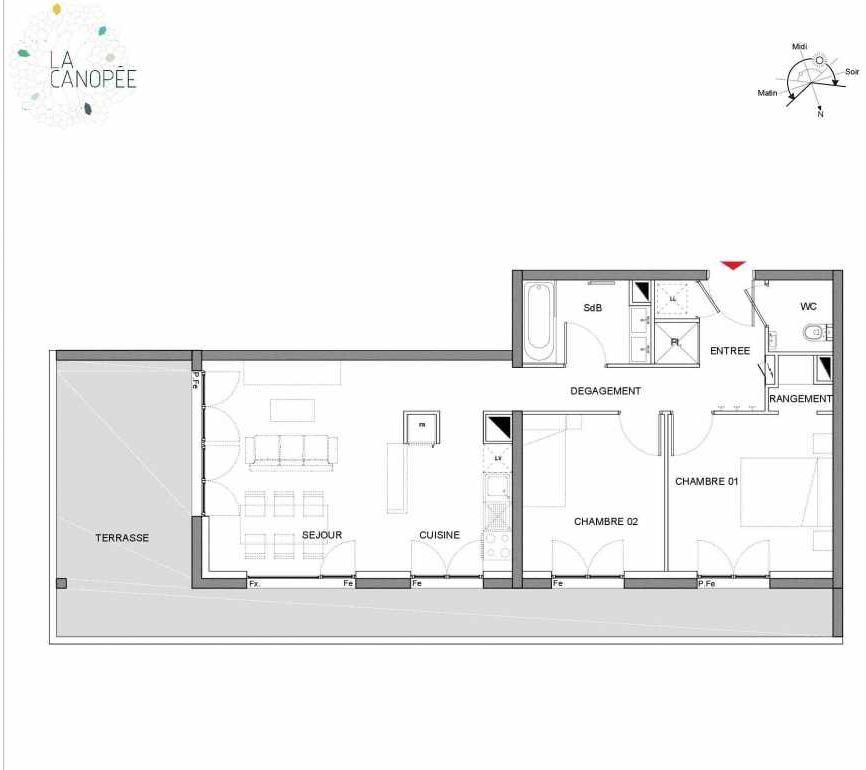 Plan A27, appartement neuf type T3 au 2ème étage, orienté Nord faisant 62m² du programme neuf LA CANOPÉE à Amiens.