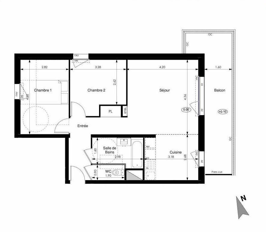 Plan A27, appartement neuf type T3 au 2ème étage, orienté Est faisant 63m² du programme neuf Les Jardins d'Elise à Angers.