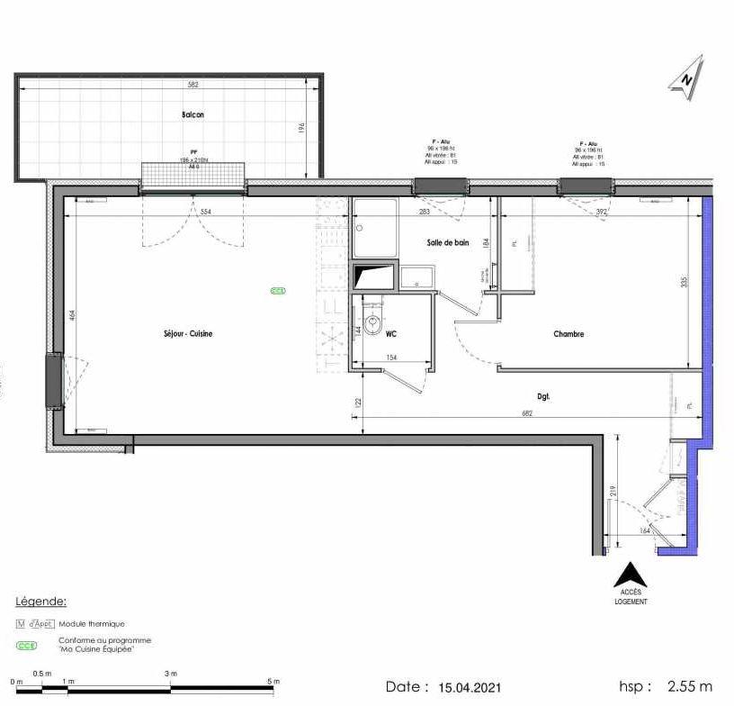 Plan A283, appartement neuf type T2 au 8ème étage, orienté Ouest faisant 59m² du programme neuf LES FABRIKS DE MAI à Clermont-Ferrand.