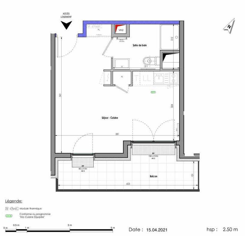 Plan A291, appartement neuf type T1 au 9ème étage, orienté Sud faisant 30m² du programme neuf LES FABRIKS DE MAI à Clermont-Ferrand.