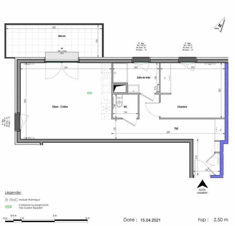 Plan A293, appartement neuf type T2 au 9ème étage, orienté Ouest faisant 59m² du programme neuf LES FABRIKS DE MAI à Clermont-Ferrand.