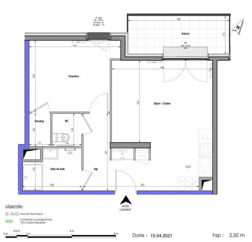 Plan A294, appartement neuf type T2 au 9ème étage, orienté Nord faisant 51m² du programme neuf LES FABRIKS DE MAI à Clermont-Ferrand.