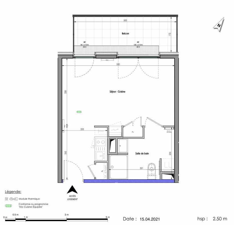 Plan A295, appartement neuf type T1 au 9ème étage, orienté Nord faisant 31m² du programme neuf LES FABRIKS DE MAI à Clermont-Ferrand.