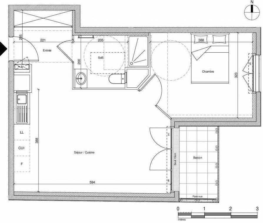 Plan A301, appartement neuf type T2 au Rez de chaussée, faisant 45m² du programme neuf 12 Liberty à Chennevières-sur-Marne.
