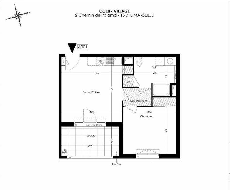 Plan A301, appartement neuf type T2 au 3ème étage, orienté Est faisant 42m² du programme neuf Coeur Village à Marseille.