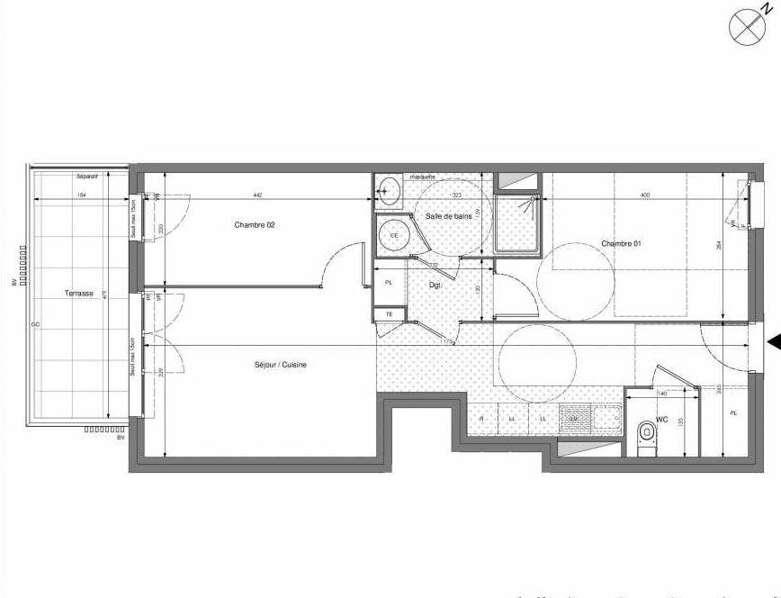 Plan A301, appartement neuf type T3 au 3ème étage, orienté Sud faisant 60m² du programme neuf Impulsion à Marseille.