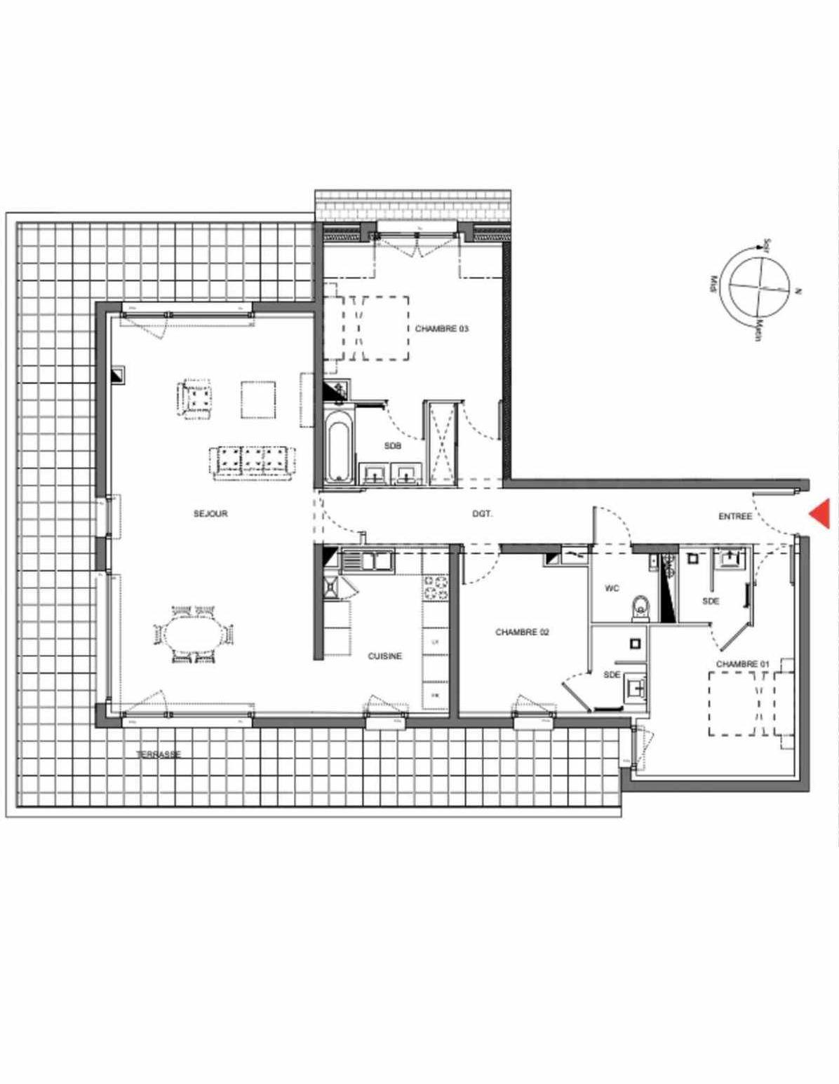 Plan A301, appartement neuf type T4 au 3ème étage, orienté Sud faisant 113m² du programme neuf Les Demeures d'Henriville à Amiens.