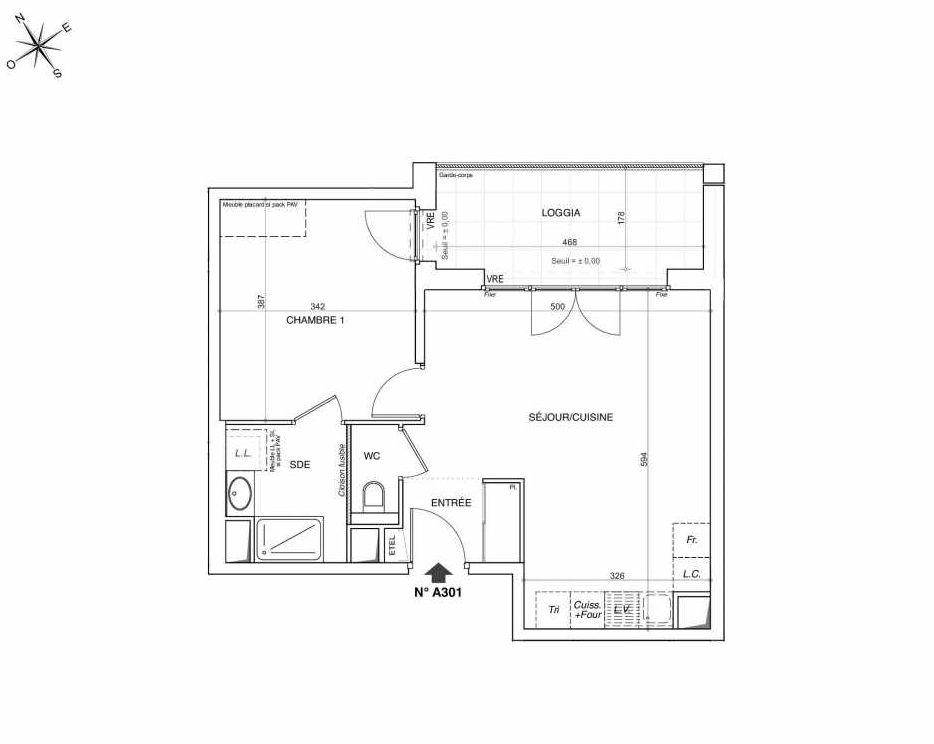 Plan A301, appartement neuf type T2 au 3ème étage, faisant 47m² du programme neuf NOVA à Annemasse.
