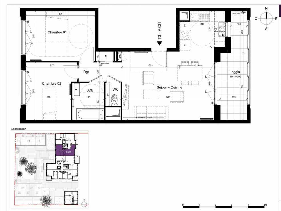 Plan A301, appartement neuf type T3 au 3ème étage, orienté Est faisant 63m² du programme neuf SESAME à Rennes.