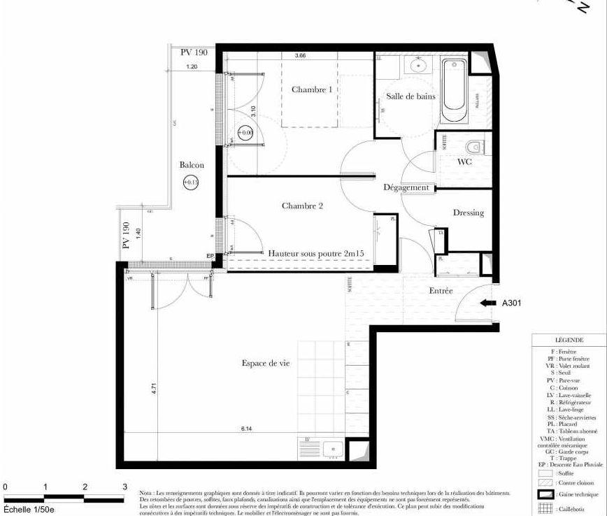 Plan A301, appartement neuf type T3 au 3ème étage, orienté Sud faisant 67m² du programme neuf Symbiose à Bezons.